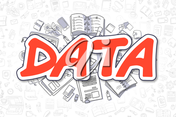 Data Doodle Illustration of Red Word and Stationery Surrounded by Doodle Icons. Business Concept for Web Banners and Printed Materials.
