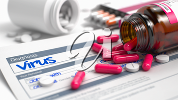 Virus Text in Anamnesis. Close View of Medicine Concept. Virus - Handwritten Diagnosis in the History of the Present Illness. Medical Concept with Red Pills, Close View, Selective Focus. 3D Render.