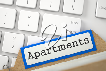 Apartments written on Blue Folder Register on Background of Computer Keyboard. Closeup View. Blurred Image. 3D Rendering.