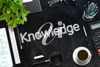 Business Concept - Knowledge Handwritten on Black Chalkboard. Top View Composition with Chalkboard and Office Supplies on Office Desk. 3d Rendering. Toned Illustration.