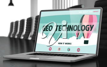 Modern Conference Room with Laptop Showing Landing Page with Text Geo Technology. Closeup View. Blurred. Toned Image. 3D Illustration.