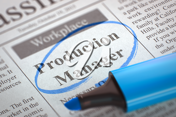 Production Manager - Advertisements and Classifieds Ads for Vacancy in Newspaper, Circled with a Blue Highlighter. Blurred Image with Selective focus. Concept of Recruitment. 3D Rendering.