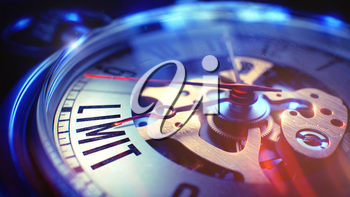 Limit. on Watch Face with Close Up View of Watch Mechanism. Time Concept. Vintage Effect. Pocket Watch Face with Limit Text, Close Up View of Watch Mechanism. Business Concept. Film Effect. 3D Render.