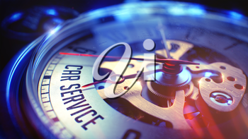 Car Service. on Vintage Pocket Clock Face with CloseUp View of Watch Mechanism. Time Concept. Film Effect. 3D Render.