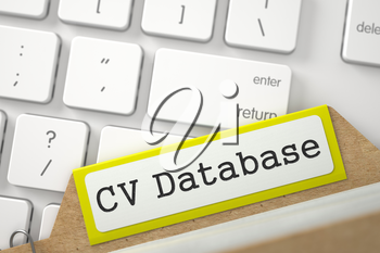 Yellow Folder Register with CV Database Concept on Background of Modern Laptop Keyboard. Closeup View. Blurred Illustration. 3D Rendering.