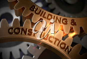 Building And Constructi on on Golden Metallic Cogwheels. Building And Construction - Concept. 3D Rendering.