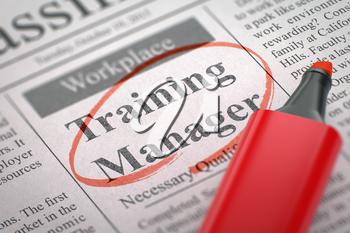 Training Manager. Newspaper with the Small Advertising, Circled with a Red Highlighter. Blurred Image with Selective focus. Concept of Recruitment. 3D.