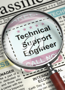 Newspaper with Small Ads of Job Search Technical Support Engineer. Technical Support Engineer - Close Up View Of A Classifieds Through Magnifying Lens. Job Seeking Concept. Blurred Image. 3D Render.