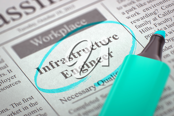Infrastructure Engineer. Newspaper with the Advertisements and Classifieds Ads for Vacancy, Circled with a Azure Marker. Blurred Image with Selective focus. Hiring Concept. 3D Illustration.