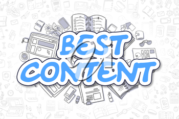 Blue Inscription - Best Content. Business Concept with Doodle Icons. Best Content - Hand Drawn Illustration for Web Banners and Printed Materials.