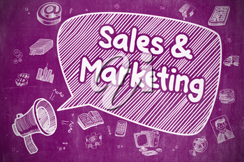 Business Concept. Bullhorn with Wording Sales And Marketing. Hand Drawn Illustration on Purple Chalkboard.
