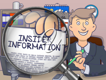 Businessman in Suit Showing a Paper with Concept Insider Information Concept through Lens. Closeup View. Colored Doodle Illustration.