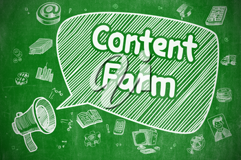 Content Farm on Speech Bubble. Doodle Illustration of Yelling Megaphone. Advertising Concept. Speech Bubble with Text Content Farm Hand Drawn. Illustration on Green Chalkboard. Advertising Concept.
