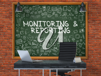 Green Chalkboard with the Text Monitoring and Reporting Hangs on the Red Brick Wall in the Interior of a Modern Office. Illustration with Doodle Style Elements. 3D.