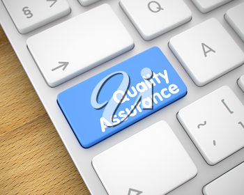 Metallic Keyboard Button Showing the MessageQuality Assurance. Message on Keyboard Blue Key. Close-Up Blue Keyboard Button - Quality Assurance. 3D Render.