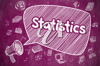 Speech Bubble with Text Statistics Doodle. Illustration on Purple Chalkboard. Advertising Concept. Business Concept. Loudspeaker with Wording Statistics. Cartoon Illustration on Purple Chalkboard.