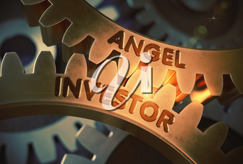 Angel Investor on the Mechanism of Golden Gears with Glow Effect. Angel Investor on Mechanism of Golden Gears. 3D Rendering.