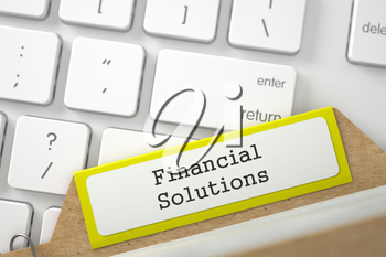 Financial Solutions. Yellow Sort Index Card on Background of Modern Laptop Keyboard. Archive Concept. Close Up View. Selective Focus. 3D Rendering.