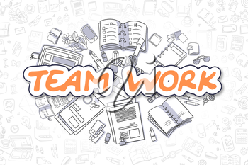 Team Work - Hand Drawn Business Illustration with Business Doodles. Orange Word - Team Work - Cartoon Business Concept.