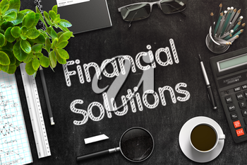 Top View of Office Desk with Stationery and Black Chalkboard with Business Concept - Financial Solutions. 3d Rendering. Toned Image.