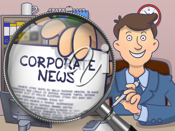 Man in Office Workplace Showing Concept on Paper Corporate News. Closeup View through Magnifier. Colored Modern Line Illustration in Doodle Style.