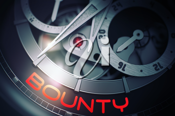 Men Wrist Watch Machinery Macro Detail and Inscription - Bounty. Gears and Mainspring in the Mechanism of a Watch with Bounty on Face of It. Time Concept with Lens Flare. 3D Rendering.