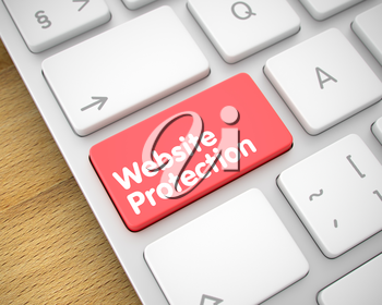 Close View View on Modern Laptop Keyboard - Website Protection Red Keypad. Online Service Concept: Website Protection on White Keyboard Background. 3D.