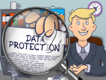 Business Man Holding a Paper with Inscription Data Protection. Closeup View through Magnifying Glass. Multicolor Modern Line Illustration in Doodle Style.