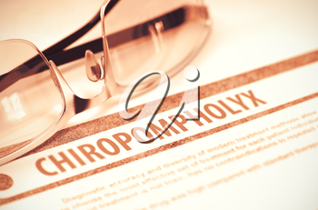 Diagnosis - Chiropompholyx. Medical Concept with Blurred Text and Eyeglasses on Red Background. Selective Focus. 3D Rendering.