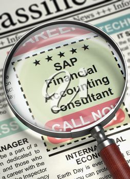 SAP Financial Accounting Consultant - Searching Job in Newspaper. Column in the Newspaper with the Searching Job of SAP Financial Accounting Consultant. Concept of Recruitment. 3D Render.