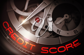 Credit Score on the Luxury Men Wrist Watch Detail, Chronograph Close Up. Credit Score - Black and White Close Up of Wristwatch Mechanism. Time Concept with Glow Effect and Lens Flare. 3D Rendering.