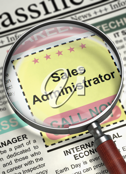 Newspaper with Small Ads of Job Search Sales Administrator. Magnifying Glass Over Newspaper with Vacancy of Sales Administrator. Concept of Recruitment. Blurred Image with Selective focus. 3D.