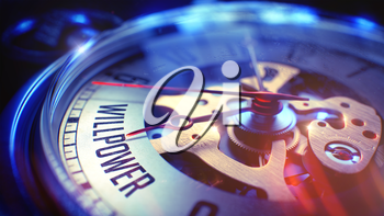 Willpower. on Pocket Watch Face with CloseUp View of Watch Mechanism. Time Concept. Film Effect. Pocket Watch Face with Willpower Text on it. Business Concept with Vintage Effect. 3D Render.