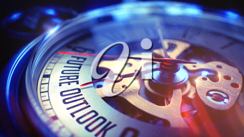 Business Concept: Future Outlook Phrase. on Pocket Watch Face with Close View of Watch Mechanism. Time Concept with Selective Focus and Light Leaks Effect. 3D.