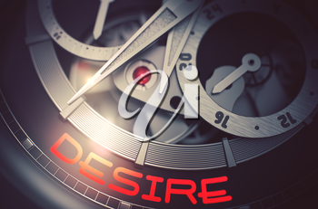 Fashion Watch Machinery Macro Detail with Inscription Desire. Desire on the Face of Men Watch Machinery Macro Detail Monochrome. Time and Business Concept with Lens Flare. 3D Rendering.