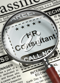 HR Consultant - Close View Of A Classifieds Through Magnifier. Illustration of Classified Ad of HR Consultant in Newspaper with Magnifying Glass. Job Search Concept. Selective focus. 3D Rendering.
