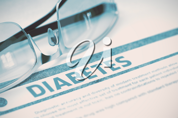 Diabetes - Medical Concept on Blue Background with Blurred Text and Composition of Specs. Diabetes - Medicine Concept with Blurred Text and Specs on Blue Background. Selective Focus. 3D Rendering.