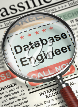 Loupe Over Newspaper with Searching Job of Database Engineer. Database Engineer - CloseUp View Of A Classifieds Through Loupe. Hiring Concept. Blurred Image with Selective focus. 3D Illustration.
