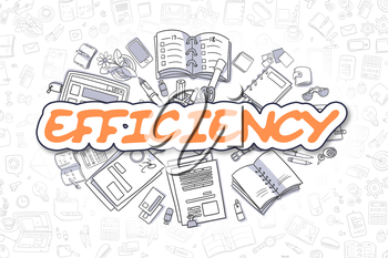 Doodle Illustration of Efficiency, Surrounded by Stationery. Business Concept for Web Banners, Printed Materials.