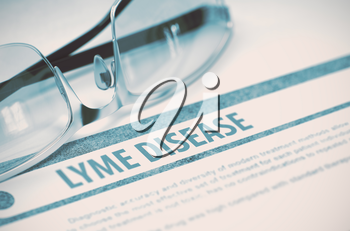 Lyme Disease - Printed Diagnosis with Blurred Text on Blue Background with Spectacles. Medical Concept. 3D Rendering.