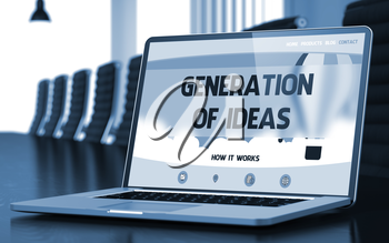 Modern Meeting Room with Laptop on Foreground Showing Landing Page with Text Generation Of Ideas. Closeup View. Blurred Image with Selective focus. 3D Rendering.