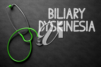 Medical Concept: Black Chalkboard with Handwritten Medical Concept - Biliary Dyskinesia with Green Stethoscope. Top View. Medical Concept: Black Chalkboard with Biliary Dyskinesia. 3D Rendering.
