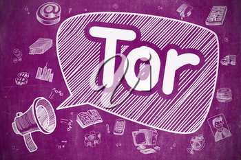 Speech Bubble with Wording Tor - The Onion Router Doodle. Illustration on Purple Chalkboard. Advertising Concept.