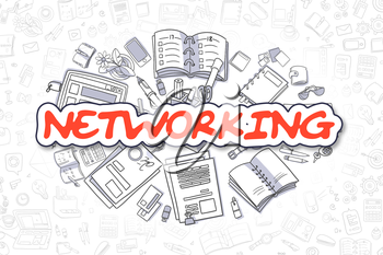 Red Word - Networking. Business Concept with Cartoon Icons. Networking - Hand Drawn Illustration for Web Banners and Printed Materials.