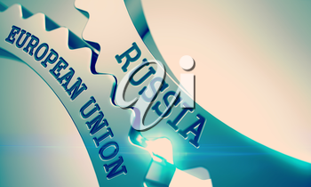 Text Russia European Union on Metal Cogwheels - Enterprises Concept. Russia European Union Metal Cogwheels - Interaction Concept. with Glowing Light Effect. 3D.