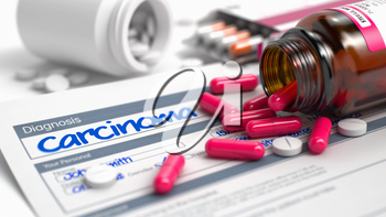 Carcinoma Wording in Medical History. Close Up View of Medical Concept. Carcinoma - Handwritten Diagnosis in the Anamnesis. Medical Concept with Heap of Pills, Close Up View, Selective Focus. 3D.