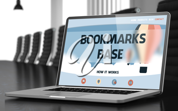 Bookmarks Base Concept. Closeup Landing Page on Mobile Computer Screen on Background of Meeting Room in Modern Office. Blurred Image with Selective focus. 3D Rendering.