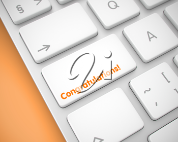 Online Service Concept with White Enter White Keypad on the Keyboard: Congratulations. Service Concept: Congratulations on Modern Computer Keyboard lying on Orange Background. 3D Render.