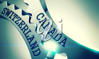 Canada Switzerland on Shiny Metal Cog Gears, Enterprises Illustration with Glow Effect. Canada Switzerland on Mechanism of Shiny Metal Cog Gears. Business Concept in Technical Design. 3D Illustration.