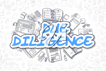 Cartoon Illustration of Due Diligence, Surrounded by Stationery. Business Concept for Web Banners, Printed Materials.